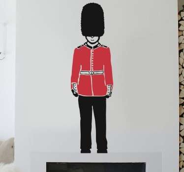 Queen's Guard sticker. Charming illustration of the guard who watches over Buckingham Palace from our collection of London wall stickers.