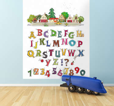 A sticker of the alphabet and numbers with an image of a little town on top. Perfect wall decal to decorate your child´s room.