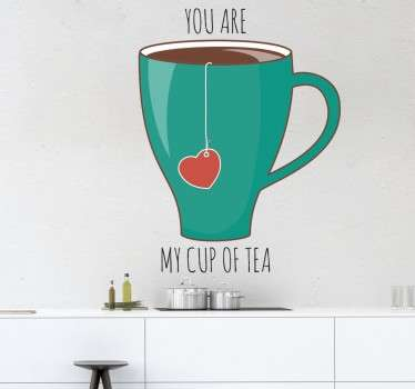 A beautiful decal from our collection of tea inspired wall stickers. An image of a tea cup and the words 'You are my cup of tea'.