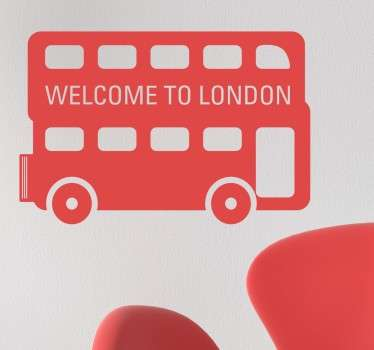 Simple design of an iconic double decker London bus with a friendly welcome message.