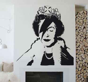 A wall sticker with a cool urban art design of Queen Elizabeth with a Ziggy Stardust lightening strike across her face; created by artist Banksy.