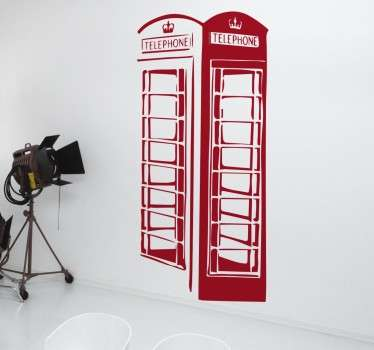 rød telefonboks wallsticker
