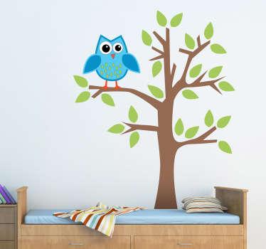 синяя сова на дереве детская наклейка