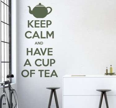 From our collection of tea inspired wall stickers, a classic text design that tells you to 'Keep Calm and Have A Cup of Tea'.