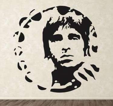 Vinilo decorativo de Noel Gallagher, un retrato que puedes hacer tuyo y colocar en cualquier estancia, des de tu salón al dormitorio.