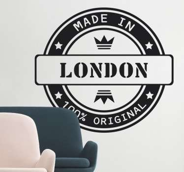 "Sticker texte sur lequel il est écrit ""Made in London, 100% original""."