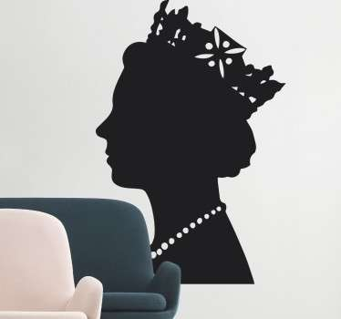 A silhouette wall sticker with the profile of the UK's reigning monarch; Queen Elizabeth. Anti-bubble vinyl. Available in many sizes.