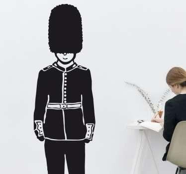 Strażnik pałacu Buckhingam naklejka czarno biała