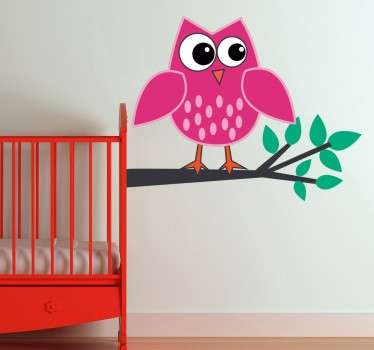 Sticker enfant hibou rose