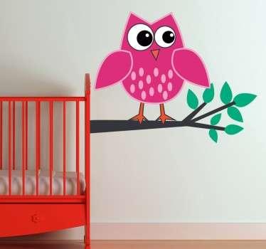 Sticker enfant hibou rose