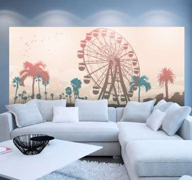 A wall mural with an excellent silhouette design of the California state fair, which includes the large Ferris wheel and Californian palm trees.