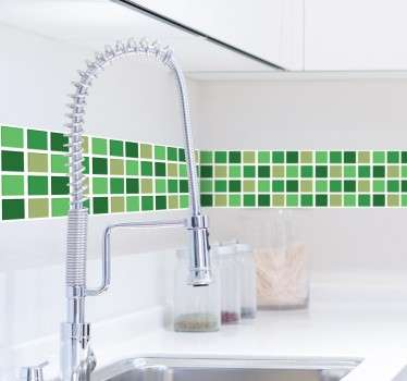 Green Tones Tile Border Sticker