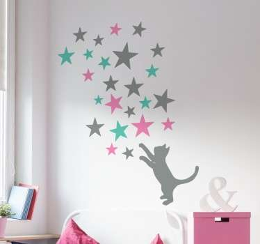 Beautiful silhouette wall sticker of a cat playfully trying to catch some stars in the sky. Ideal for decorating any room in your home to create a magical touch for you and your family. A sweet design with pastel coloured tones from our collection of animal stickers.