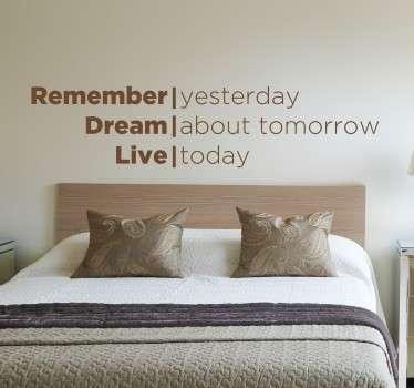 꿈을 살아있는 인용문 데칼을 기억하십시오.