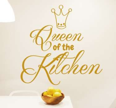 A great text wall sticker to let everyone know who the Queen of the kitchen is in your home.