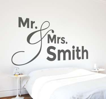 Headboard stickers - Decorate your home with this unique Mr & Mrs wall sticker that you can personalise with your own surname!