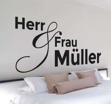 Herr & Frau ? – Personalisierbares Wandtattoo, das sich perfekt für Ihr Schlafzimmer eignet.