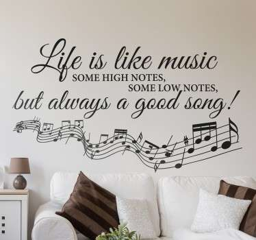 Musical text wall sticker with decorative cursive writing and musical notes showing an inspiring phrase about life.