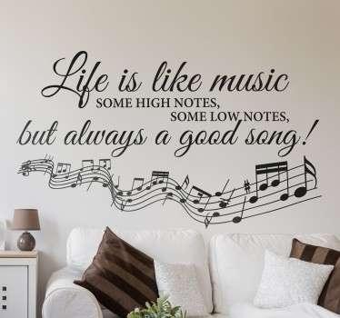 Vinilo decorativo life is like music