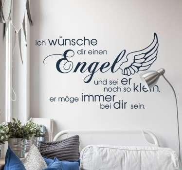 """""""Ich wünsche dir einen Engel und sei er noch so klein, er möge immer bei dir sein."""" Süßes Wandtattoo für das Kinderzimmer."""