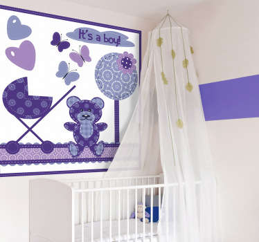 A decorative wall decal for your newborn. A fantastic design from our set of purple wall stickers to decorate their room and make them feel welcome.