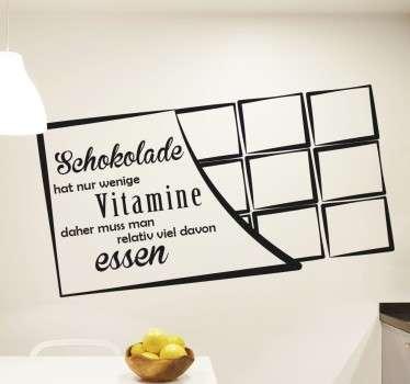 Wandtattoo Schokolade hat nur wenige Vitamine