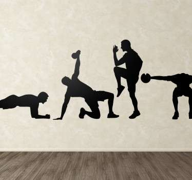 A set of four stickers with designs of men performing different exercises. Ideal for decorating gyms and leisure centres.