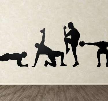 Vinil decorativo ginásio silhueta fitness