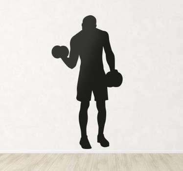 sticker sportif levant des poids