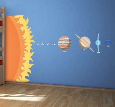 Vinilos decorativos educativos con la representación a escala del sol y los distintos planetas de nuestro sistema.