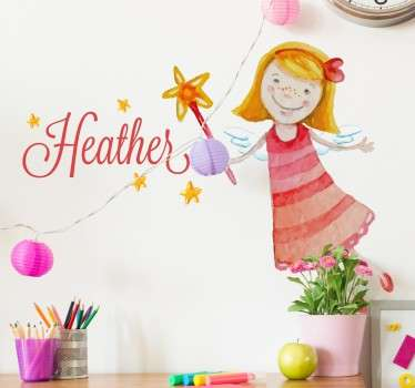 A wall sticker with a sweet illustration of a fairy holding a magic wand. Customise this decal with any name that you like to make it more personal