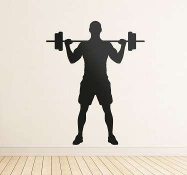 From our collection of sport and fitness stickers, a silhouette design of a man lifting some weights on a bar.