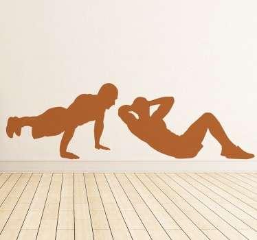 Autocolantes ginásio flexões e abdominais