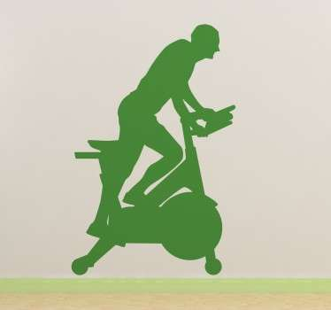 From our collection of sports and fitness wall stickers, a silhouette design of a man running on an exercise bike.