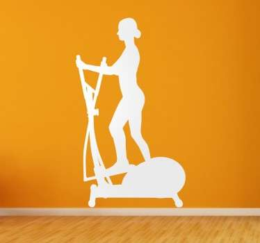 A wall sticker with a silhouette design of a woman running on a cross trainer. An ideal decal for gyms and sport related businesses.