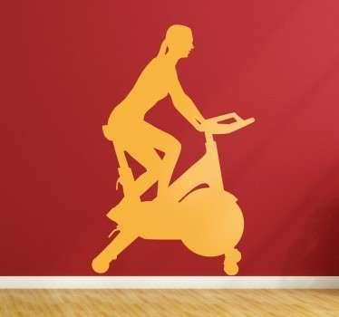 Woman on Fitness Bike Sticker