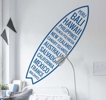From our collection of surfing themed wall stickers, a great design of a surf board filled with the names of countries from around the world.