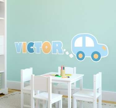 Personalised children wall stickers- A simple design of a car where the exhaust blows out the name of your child. From our collection of kid´s custom name stickers.