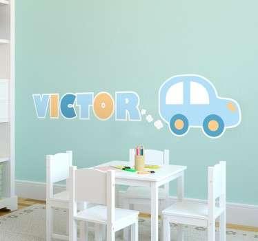 Barn personifierad bil med namnvägg klistermärke