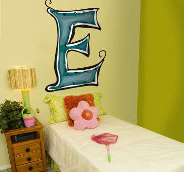 Stitched Letter E Kids Sticker