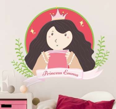 Muursticker Prinses Gepersonaliseerd