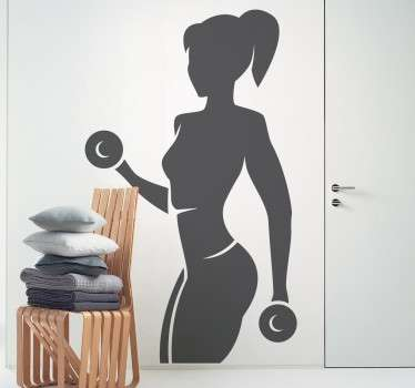 A sports wall sticker of a woman lifting some weights and doing some biceps training. Ideal for decorating gyms and fitness centres.