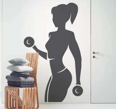 Perfil de una chica haciendo ejercicios con pesas para mantenerse en fonda, un vinilo ideal para decoración de gimnasios.
