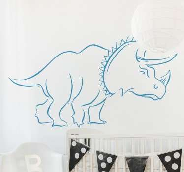 A great dinosaur wall sticker with the outline of the Triceratops. Ideal for decorating kids dinosaur themed bedrooms.