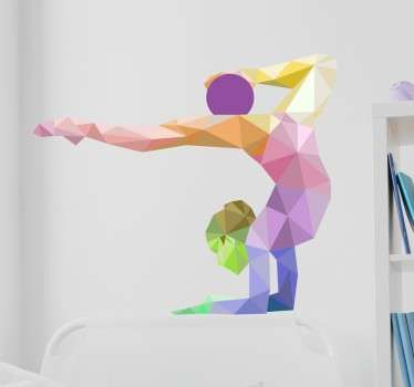 sticker mural origami gymnaste
