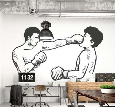 From our collection of sports wall stickers, a design with an illustration of two boxers fighting together.