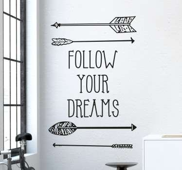 This motivational wall sticker with the phrase 'Follow Your Dreams' is perfect for adding some positivity to your home. Easy to apply in any space to give your family and friends the encouragement to achieve their dreams and goals in life.