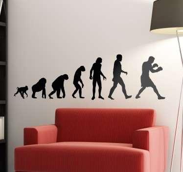 Zabavna stenska nalepka, ki prikazuje razvoj od opice do človeka in človeka do boksarja!