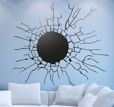 Vinilo decorativo efecto pared agujereada