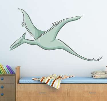 From our collection of dinosaur stickers, a great design of a flying Pterodactylus to decorate any space that you like.